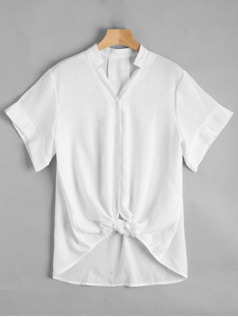 Botón de cuello en V hasta blusa de palangre - Blanco XL Mobile