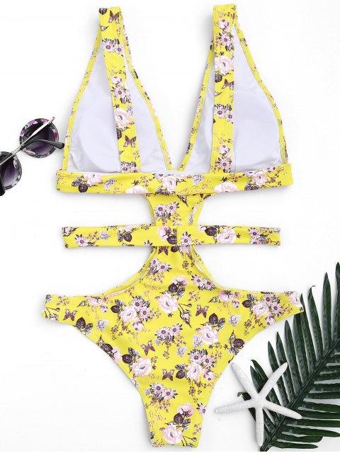 women Plunging Neck Floral High Cut Bandage Swimwear - YELLOW L Mobile