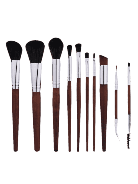sale 10Pcs Aluminum Tube Nylon Makeup Brushes Set - COFFEE  Mobile