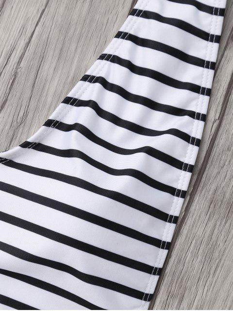 Maillot de bain rayé à grosse taille - Blanc et Noir 5XL Mobile