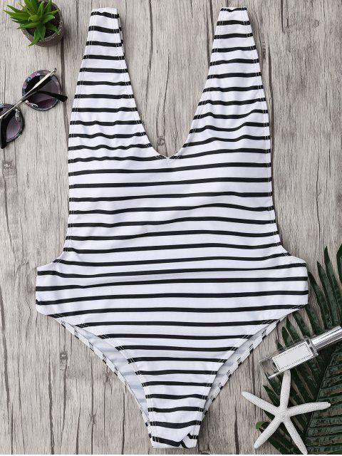 women Plus Size Side Boob Striped Swimsuit - WHITE AND BLACK 5XL Mobile