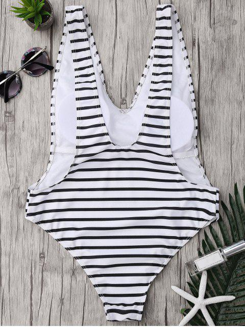 women's Plus Size Side Boob Striped Swimsuit - WHITE AND BLACK 4XL Mobile