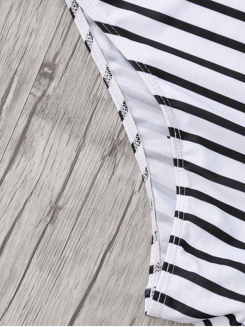 lady Plus Size Side Boob Striped Swimsuit - WHITE AND BLACK 2XL Mobile