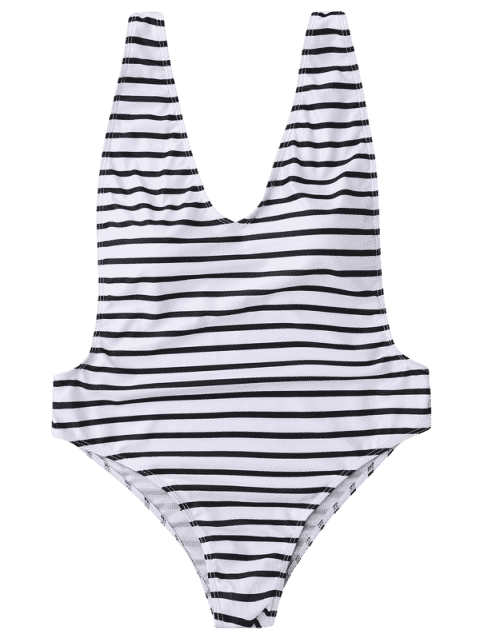 best Plus Size Side Boob Striped Swimsuit - WHITE AND BLACK XL Mobile