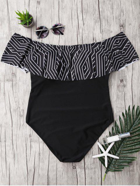 hot Plus Size Ruffles Off The Shoulder Swimsuit - BLACK 3XL Mobile