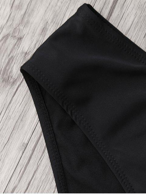 shop Ruffle One Shoulder Plus Size Bathing Suit - BLACK 5XL Mobile