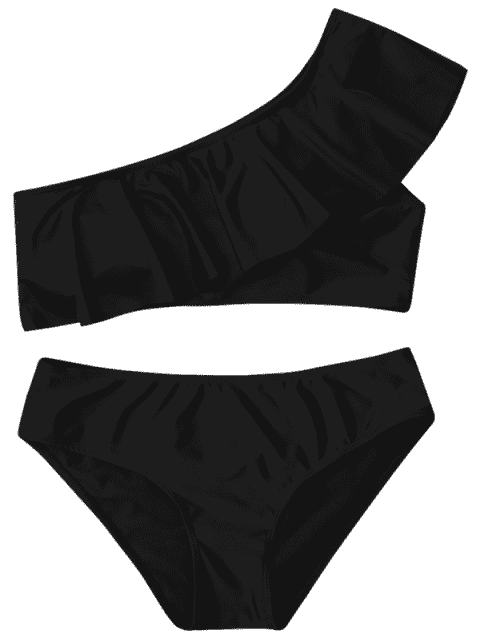 latest Ruffle One Shoulder Plus Size Bathing Suit - BLACK 3XL Mobile