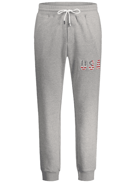 fancy USA Embroidery Drawstring Jogger Pants - LIGHT GRAY L Mobile
