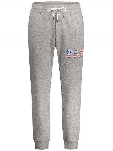 USA Broderie Drawstring Jogger Pants - Gris Clair L Mobile