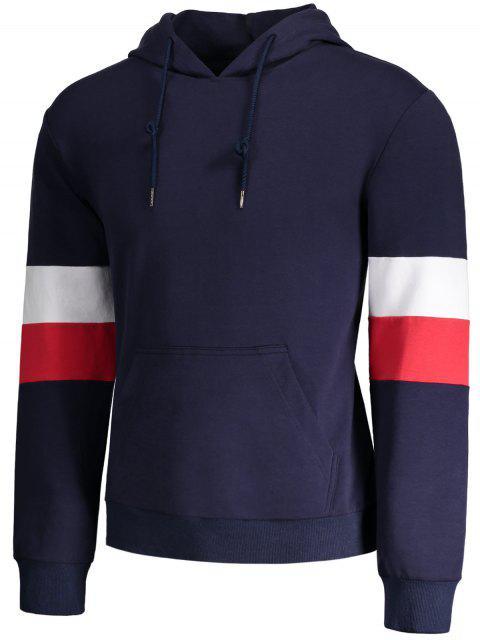 buy Kangaroo Pocket Striped Pullover Hoodie - PURPLISH BLUE XL Mobile