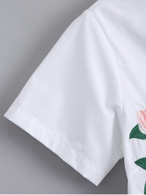 best Short Sleeve Button Up Floral Embroidered Shirt - WHITE S Mobile