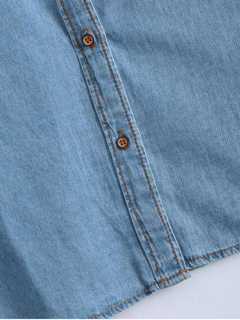 Chemise en coton brodé avec poche - Denim Bleu S Mobile