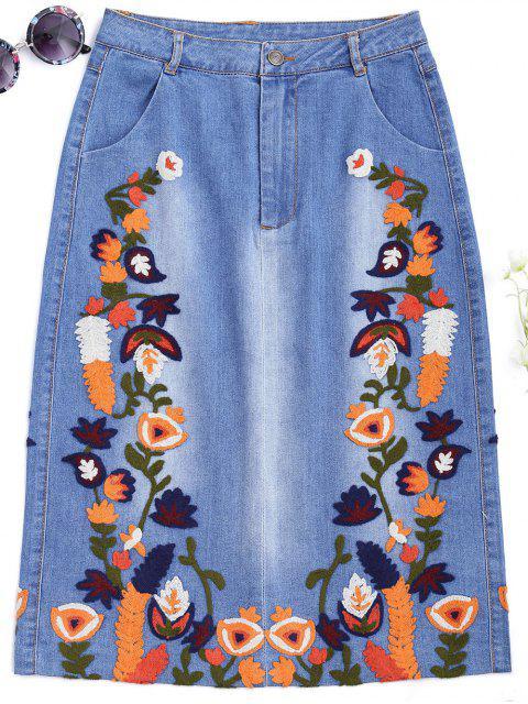 shop Floral Embroidered Midi Denim Skirt - DENIM BLUE S Mobile