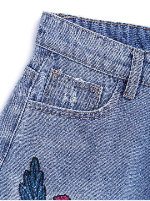 Combinaison déchirée brodée à la fleur Denim Shorts - Denim Bleu XL Mobile