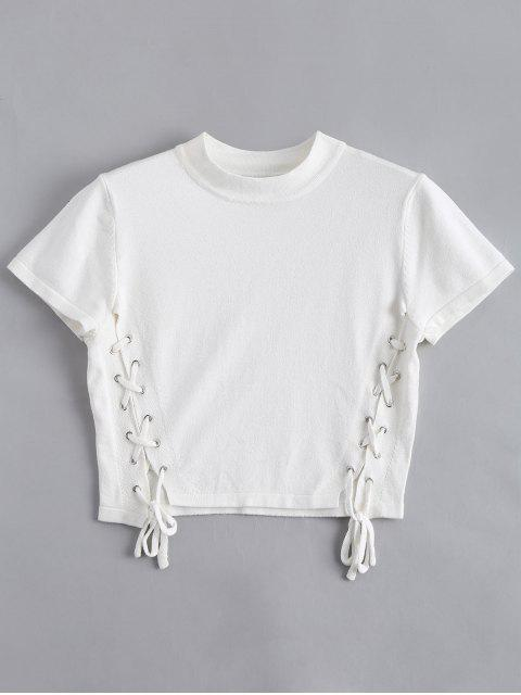 fancy Knitting Lace Up Top - WHITE S Mobile