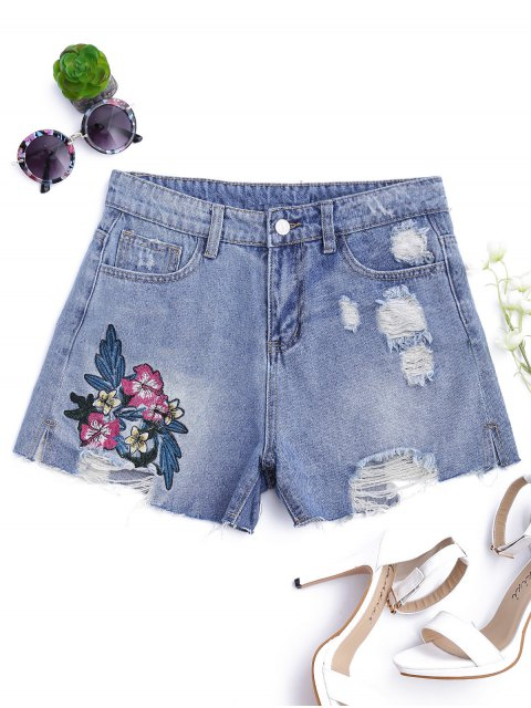 sale Floral Embroidered Destroyed Cutoffs Denim Shorts - DENIM BLUE L Mobile