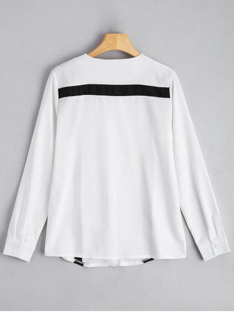 ladies Button Up Contrast Long Sleeve Blouse - WHITE 2XL Mobile