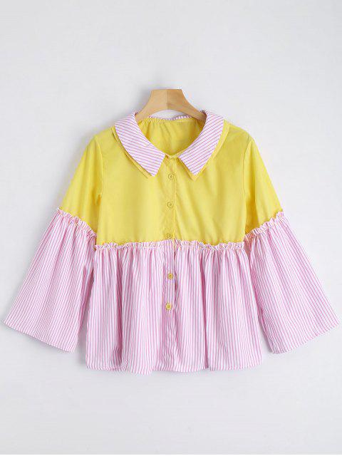lady Contrast Button Up Striped Blouse - PINK ONE SIZE Mobile