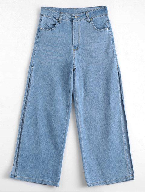 hot Ninth High Slit Wide Leg Jeans - DENIM BLUE M Mobile