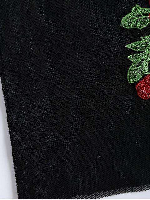 unique Floral Patched Fishnet Cami Dress - BLACK S Mobile