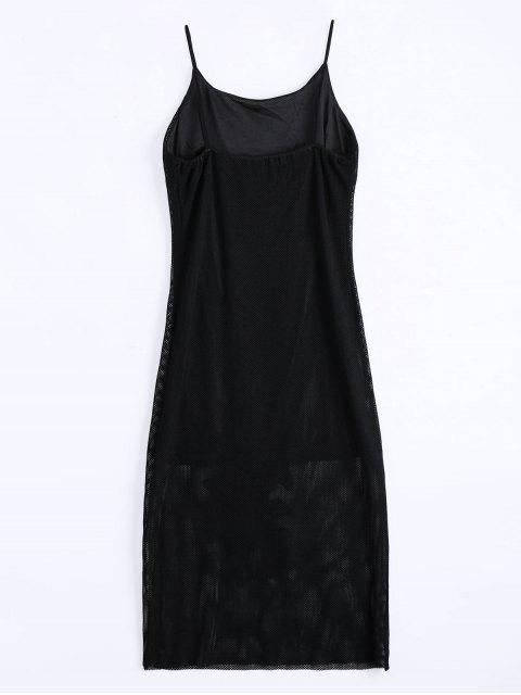 affordable Floral Patched Fishnet Cami Dress - BLACK L Mobile