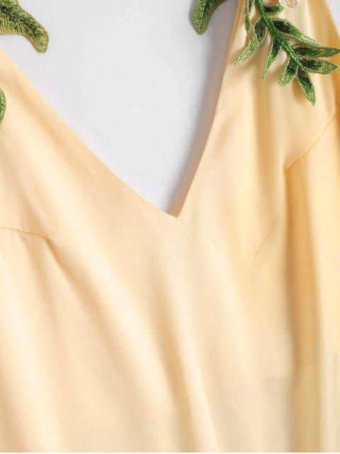 lady Floral Patched Shift Dress - CHAMPAGNE S Mobile
