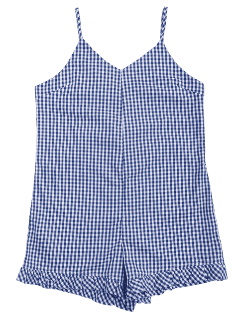 best Lace Up Checked Cami Cover Up Romper - PLAID L Mobile