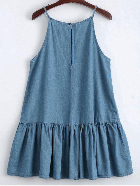 Robe Décontractée Forure Ourlet à Glissière - Denim Bleu S Mobile
