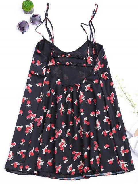 Bowknot Cherry Cut Out Slip Dress - Noir S Mobile