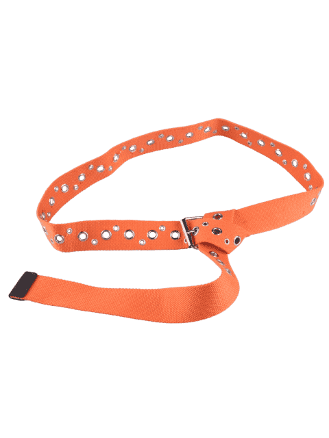 new Pin Buckle Round Rivet Hole Embellished Belt - ORANGE  Mobile