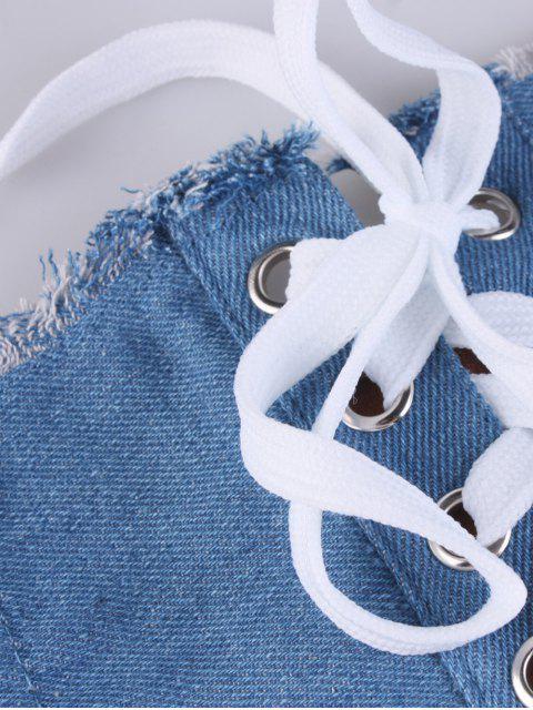 sale Denim Lace Up Fringed Brim Corset Belt -   Mobile