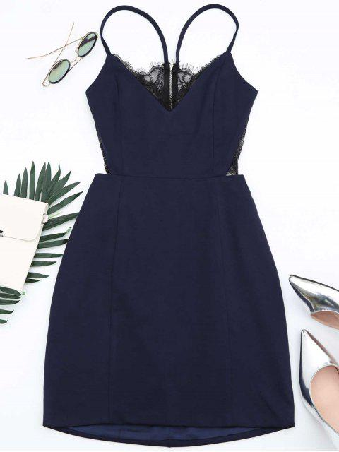 shops Zippered Lace Panel Fitted Cami Dress - PURPLISH BLUE S Mobile