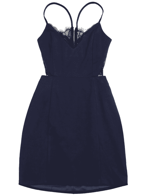 trendy Zippered Lace Panel Fitted Cami Dress - PURPLISH BLUE L Mobile