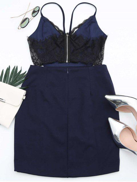 fashion Zippered Lace Panel Fitted Cami Dress - PURPLISH BLUE XL Mobile