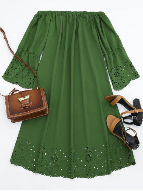 Vestido Midi Fuera del Hombro con Detalle Ahuecado - Ejercito Verde S Mobile