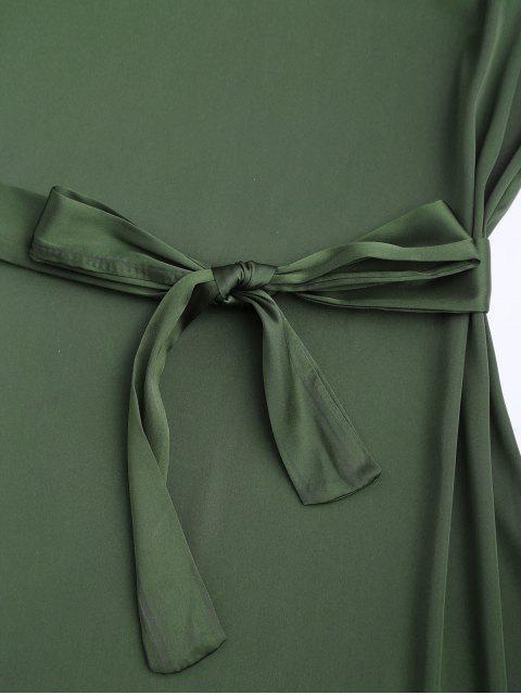 fashion Satin Cami Slip Dress With Choker Strap - ARMY GREEN S Mobile