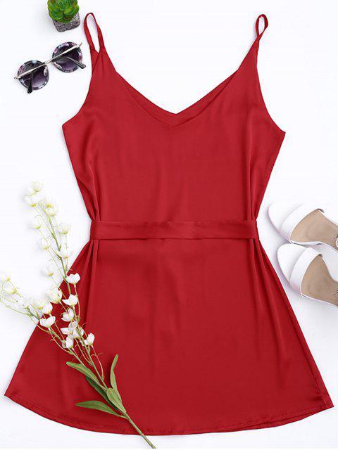 Robe à bretelle en satin avec collier choker - Rouge L Mobile