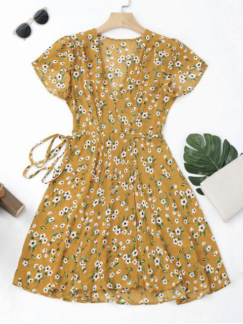 shop Tiny Floral Mini Wrap Dress - YELLOW M Mobile