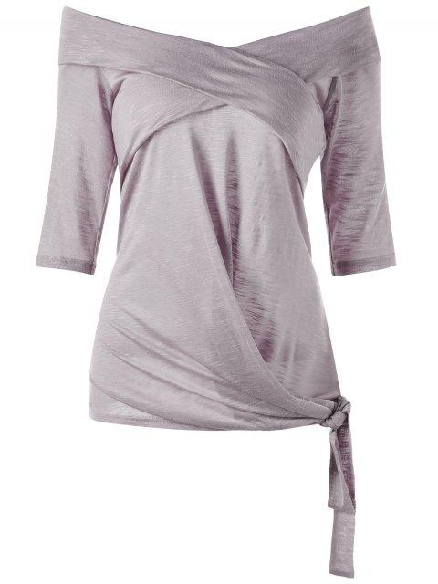 Talla más de la parte superior del hombro Tie Side - Gris Púrpura 4XL Mobile