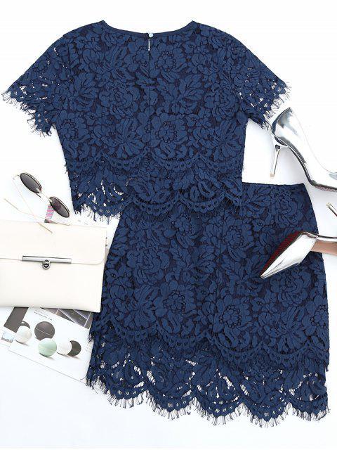 Ensemble à encolure et jupe en dentelle festonnée - Bleu Violet S Mobile