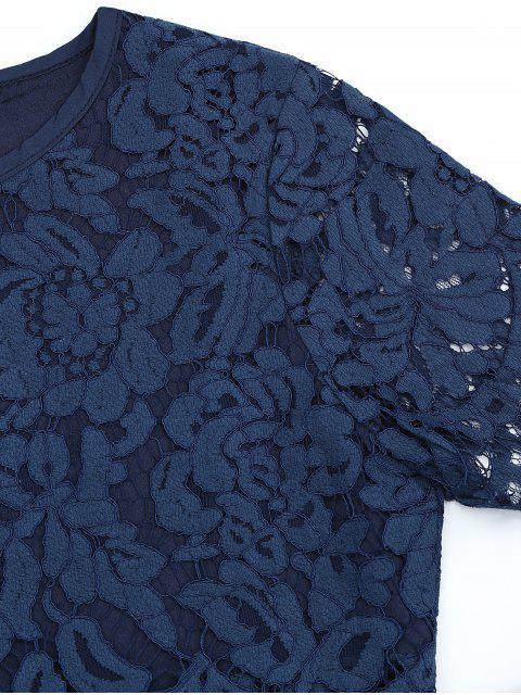 Ensemble à encolure et jupe en dentelle festonnée - Bleu Violet L Mobile