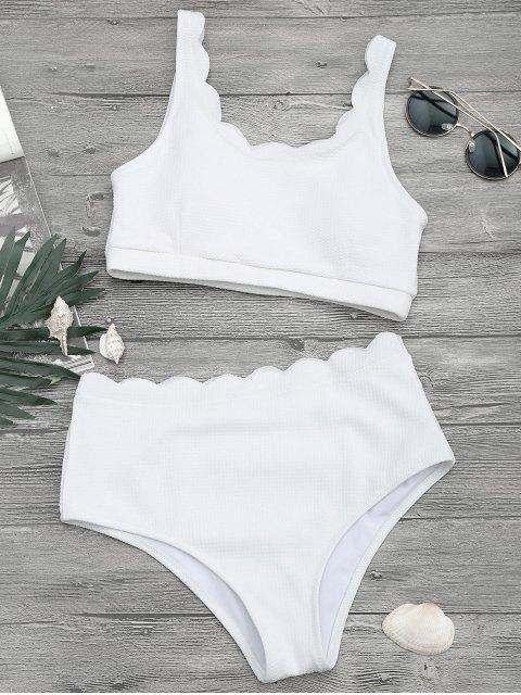 hot Scalloped High Waisted Bralette Bikini Set - WHITE L Mobile