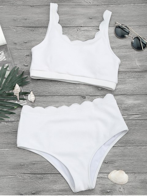 outfit Scalloped High Waisted Bralette Bikini Set - WHITE M Mobile