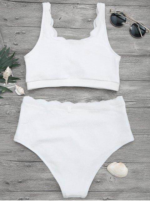 outfits Scalloped High Waisted Bralette Bikini Set - WHITE S Mobile