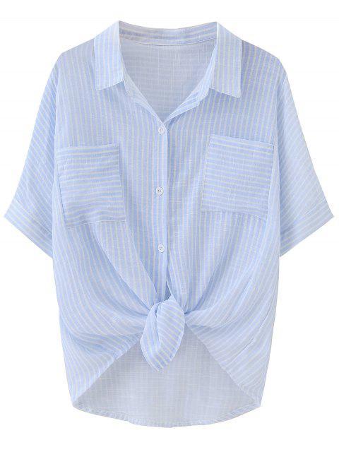 sale Knotted Striped Pockets Dip Hem Shirt - STRIPE ONE SIZE Mobile