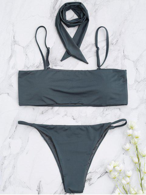shop Padded Multiway Bandeau Bikini Set - SMOKY GRAY S Mobile
