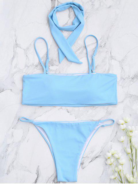 online Padded Multiway Bandeau Bikini Set - LIGHT BLUE L Mobile