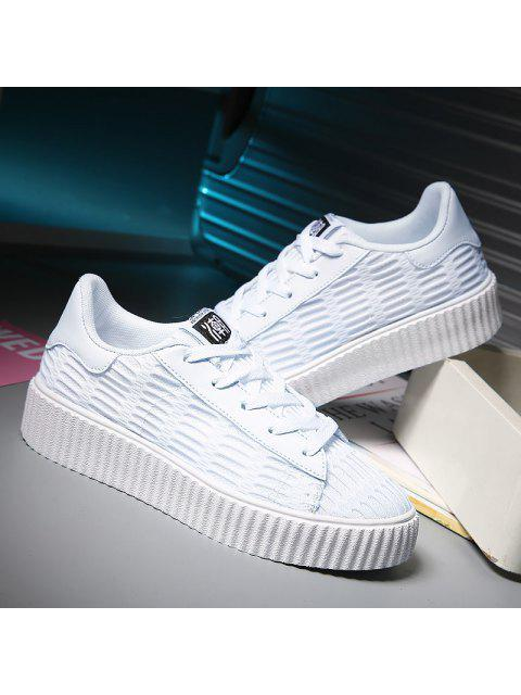 women's Tie Up Mesh Breathable Athletic Shoes - WHITE 40 Mobile