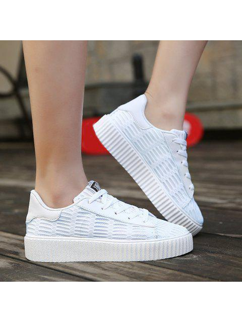 ladies Tie Up Mesh Breathable Athletic Shoes - WHITE 37 Mobile