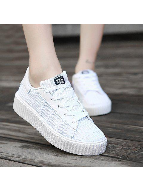 lady Tie Up Mesh Breathable Athletic Shoes - WHITE 38 Mobile